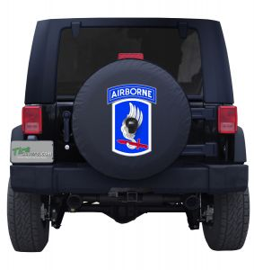 United States Army 173rd Airborne Brigade Tire Cover on Black Vinyl
