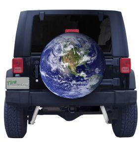 3D Globe Custom Tire Cover Front