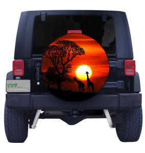 African Safari Sunset Tire Cover