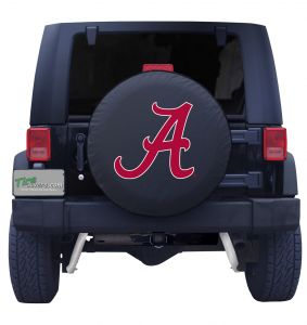 Spare Tire Cover University of Alabama on Black Vinyl with Script Logo Front