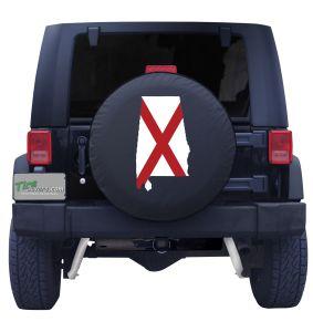Alabama State Flag Outline Tire Cover