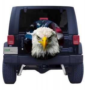 American Bald Eagle With American Flag Spare Tire Cover Jeep Wrangler