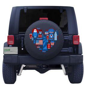 American Love Heart Tire Cover