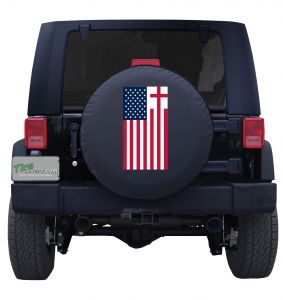 Holy Cross American Flag Tire Cover