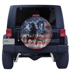 American Flag Horses Tire Cover