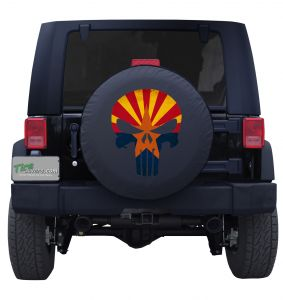 Arizona State Flag Punisher Skull Tire Cover