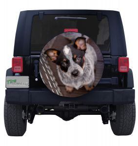 Blue Heeler Puppy Jeep Tire Cover Front
