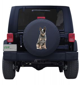 Blue Heeler Cattle Dog Sitting Spare Tire Cover Jeep Wrangler