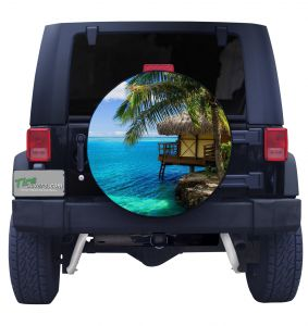 Tropical Bungalow Tire Cover