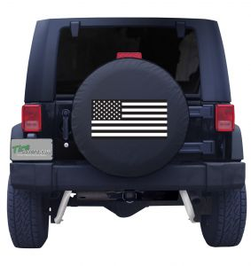 American Flag Black and White Tire Cover Front