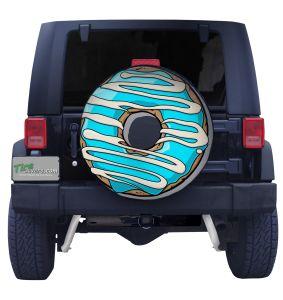 Blue Stripe Doughnut Spare Tire Cover Front
