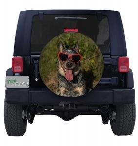 Blue Heeler Sunglasses Jeep Tire Cover Front