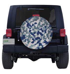 Blue Urban Camouflage Custom Tire Cover Jeep Wrangler