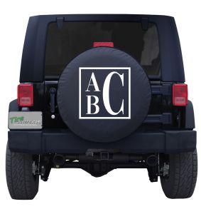 Boxed Monogram Custom Tire Cover Jeep Wrangler