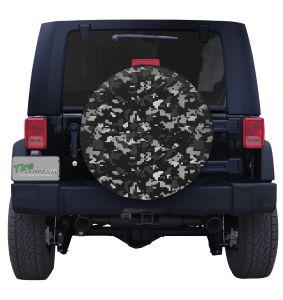 Black & White Digital Military Camouflage Tire Cover Jeep Wrangler