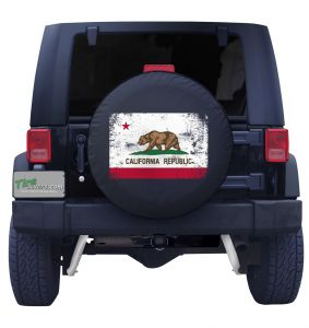 California State Flag Distressed Black Tire Cover