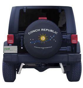 Custom Conch Republic Outline Flag Tire Cover