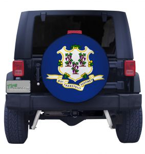 Connecticut State Flag Closeup Tire Cover Front