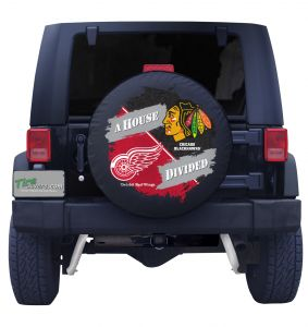 Detroit Red Wings & Chicago Blackhawks House Divided Spare Tire Cover Front