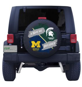 Michigan Wolverines & Michigan State Spartans House Divided Spare Tire Cover Front