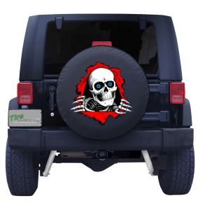 Skeleton Ripping Through Custom Tire Cover