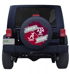 Alabama Crimson Tide and Texas A&M Aggies House Divided Tire Cover