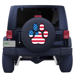 Jeep Dog Paw Flag Tire Cover