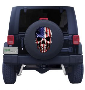 American Skull Flag Tire Cover Front