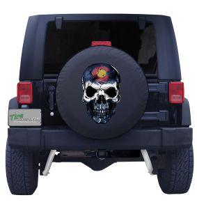 Colorado Skull Flag Tire Cover Front
