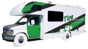 Edmonton Oilers Logo RV Tire Shade Cover
