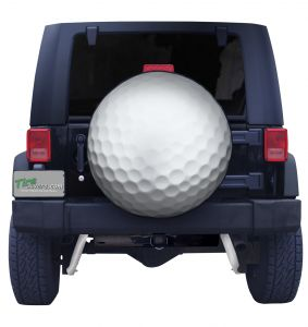 Golf Ball Spare Tire Cover on Black Vinyl Front