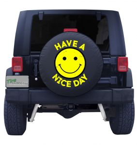 Smiley Face Have a Nice Day Tire Cover