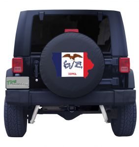 Iowa State Outline Flag Tire Cover