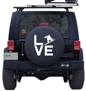 Love Snowboarding Custom Tire Cover Jeep Wrangler