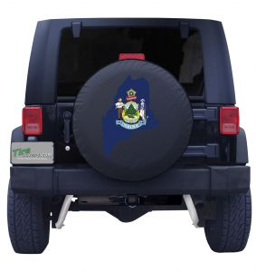 Maine State Outline Flag Tire Cover