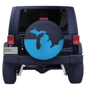 Michigan Coast Blue Tire Cover on Black Vinyl Front