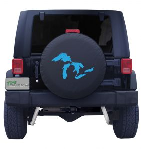 Michigan Great Lakes State BlueTire Cover on Black Vinyl Front