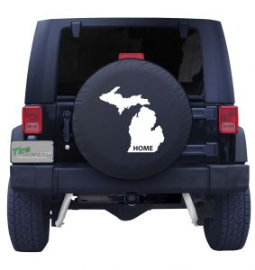 Michigan Home Tire Cover on Black Vinyl Front