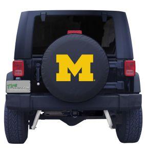 University of Michigan Spare Tire Cover Black Vinyl Front
