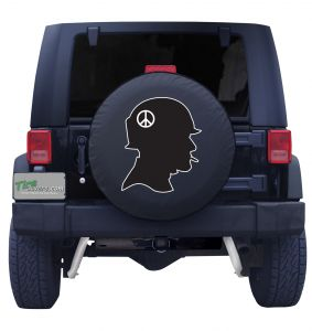 Soldier Outline Black and White Tire Cover Front