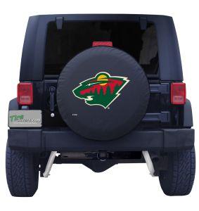 Minnesota Wild Logo Black Spare Tire Cover Front