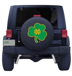 University of Notre Dame Shamrock Spare Tire Cover Navy Vinyl Front