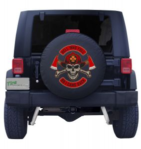first in last out Spare Tire Cover Black Vinyl Front