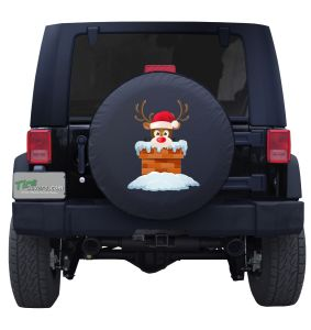 Rudolph Peeking out from the Chimney Tire Cover Jeep Wrangler