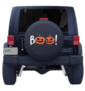 Shown in this artwork two pumpkins saying BOO