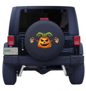 Halloween Pumpinks and Skulls Tire Cover