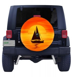 Sailboat with Sunset Spare Tire Cover on Black Vinyl