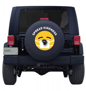 Spread Kindness Smiley Face Mask Tire Cover