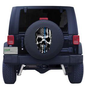 Blue Line Back the Blue Skull Front