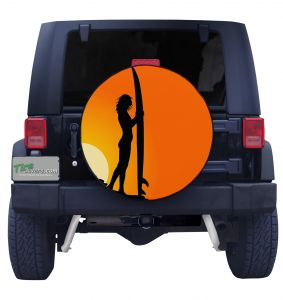 Surfing Girl Sunset Front